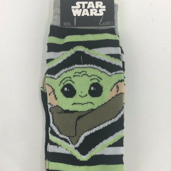Mandalorian The Child Novelty Socks for Adults Baby Yoda Star Wars Socks by HYP and Black 3-Pair Variety Pack: Blue Grey